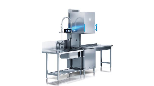 The team which operates one of au bureaus dishwashing machines