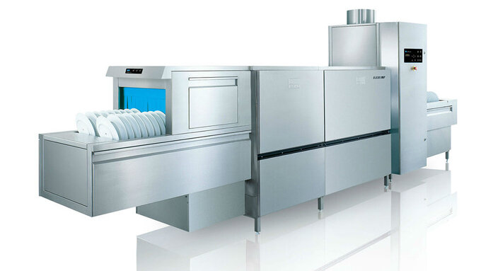 Flight type warewashing machine upster b maximum for Machine plonge restaurant